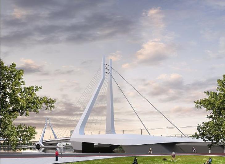 Az UNStudió és a Buro Happold Engineering alkotta konzorcium által 2018. április 20-án közzétett látványterve Budapesten felépülő, Dél-Budát és Csepelt összekötő hídról. (MTI Fotó)