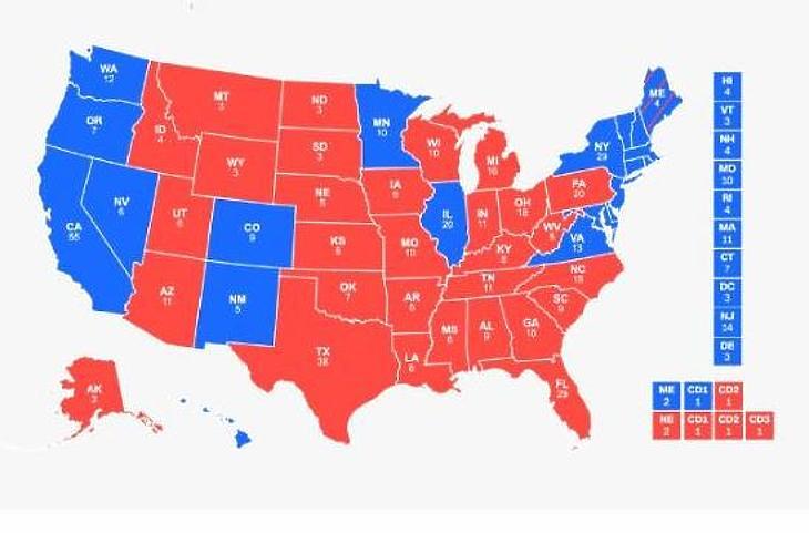 A 2016-os végeredmény (Forrás: CNN.com)