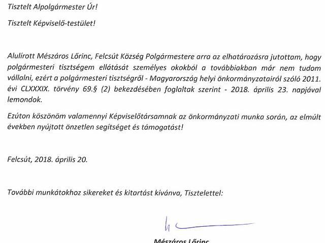 Mészáros Lőrinc lemondó nyilatkozata