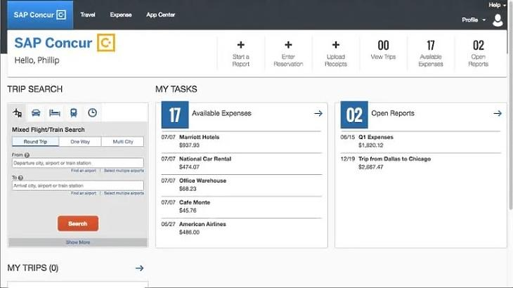 A SAP Concur felülete