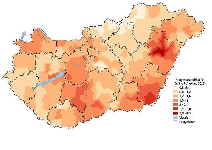 Átlagos fajlagos szántóföldárak Magyarországon 2019-ben (millió Ft/ha) (Forrás: Takarék Termőföldindex)