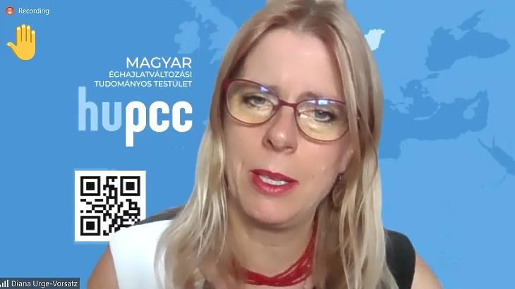 Ürge-Vorsatz Diána a HuPCC első konferenciájának nyitó sajtóbeszélgetésén (Screenshot: Zoom/mfor.hu)