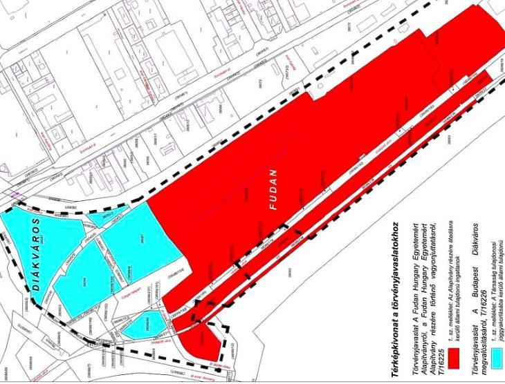 A Diákváros és a Fudan egyetem tervezett területe (forrás: Baranyi Krisztina ferencvárosi polgármester Facebook-oldala)