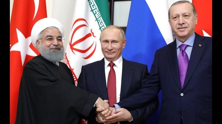 Rouhani, Putyin és Erdogan (balról jobbra)