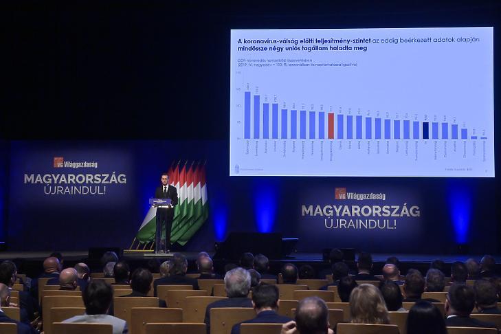 Varga Mihály pénzügyminiszter beszédet mond a Világgazdaság üzleti napilap Magyarország újraindításáról szervezett konferenciáján (MTI/Koszticsák Szilárd)