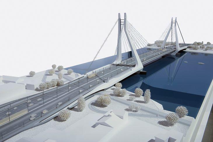 Ilyennek képzelték a Dél-Pestre tervezett Galvani hidat (forrás: Limes Model)