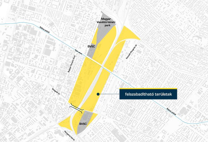 A sárgával jelölt rákosrendezői terület bal oldala Angyalföld, jobb oldala Zugló része  (forrás: BFK)