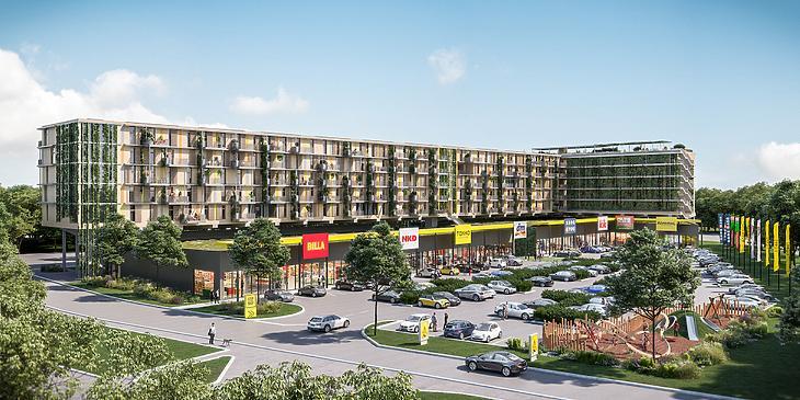Így nézhet ki majd az első üzletközpont lakásokkal (forrás: Immofinanz)