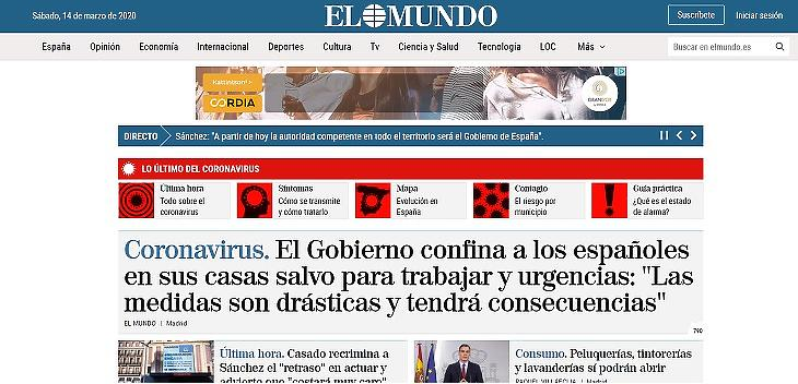 Spanyolország karanténban - az El Mundo címlapja