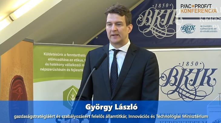 György László, az Innovációs és Technológiai Minisztérium gazdaságstratégiáért és szabályozásért felelős államtitkára a Piac&Profit Konferencia szervezésében megvalósult Cégmentő videókonferencián.