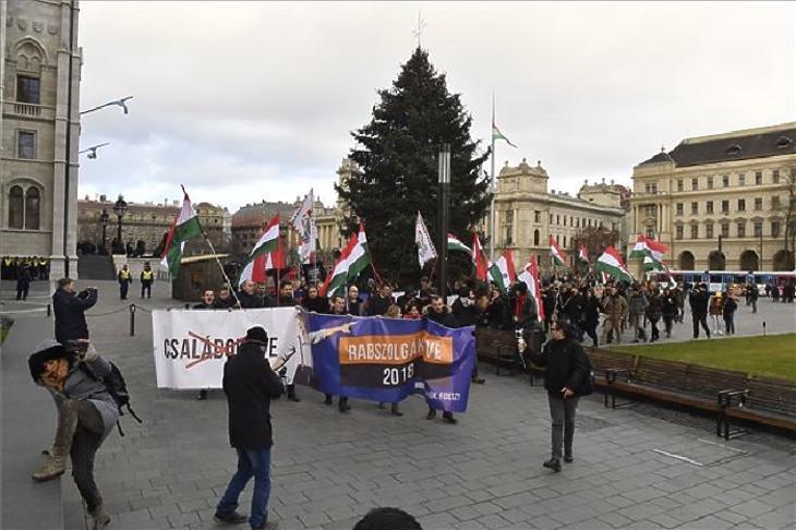A Jobbik demonstrációja a munka törvénykönyvének módosítása ellen (Forrás: MTI - Máthé Zoltán)