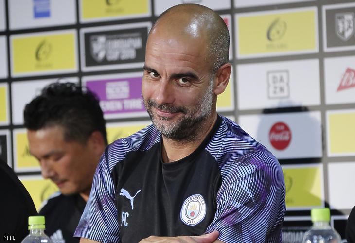 Pep Guardiola, a Manchester City vezetőedzője. (Fotó: MTI / Szaszahara Kodzsi)