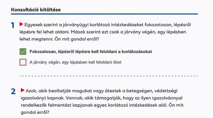 Orbán Viktor konzultációs lapja (forrás: a miniszterelnök közösségi oldala)