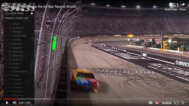 Kép a NASCAR szerdai bristoli futamáról (Forrás: YouTube)