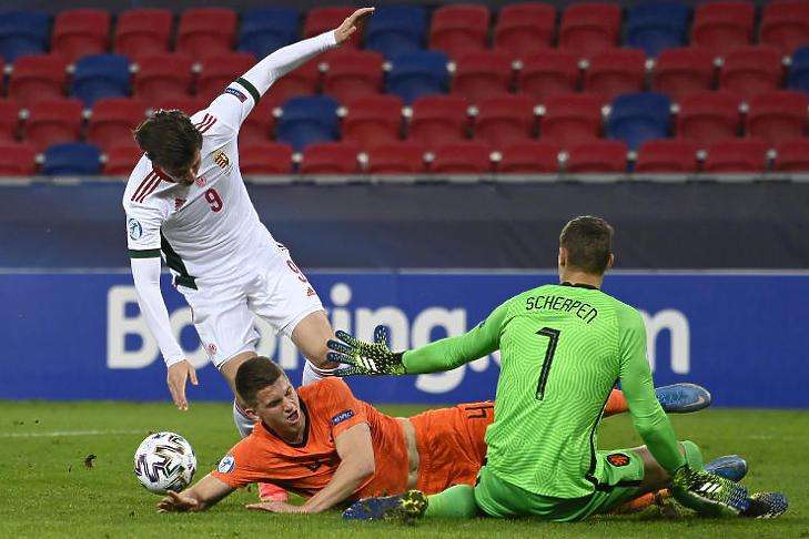 Magyar helyzet a Hollandia elleni meccsen, az U21-es Európa-bajnokságon (Fotó: MTI/Kovács Tamás)