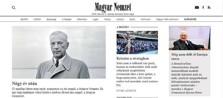 A Magyar Nemzet nyitóoldala