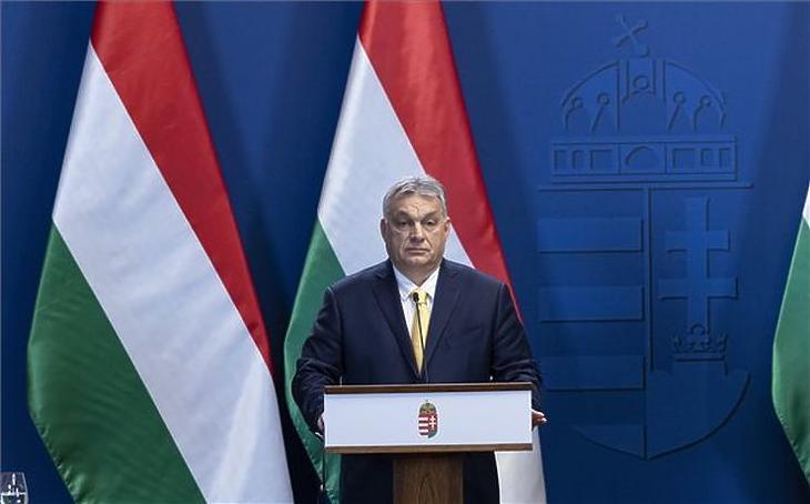 Orbán Viktor miniszterelnök a csütörtöki sajtótájékoztatón (MTI fotó - Szigetváry Zsolt)