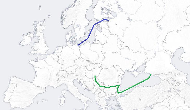 A két vitatott gázvezeték