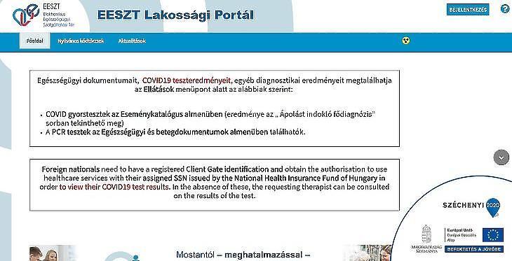 Az Elektronikus Egészségügyi Tér honlapja
