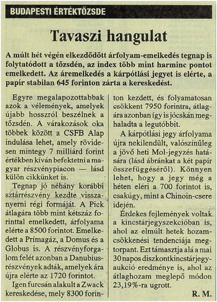 Részlet a Világgazdaság 1994. március 17-i számából (Forrás: Arcanum Digitális Tudománytár)
