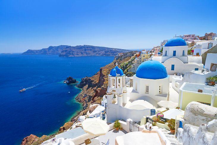 Santorini szigete Görögországban. (Depositphotos)