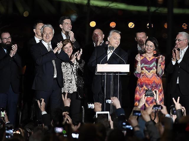 Orbán Viktor a választási győzelmet ünnepli
