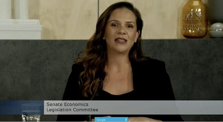 Melanie Silva, a Google ausztráliai ügyvezetője a canberrai szenátusi meghallgatáson (Forrás: APH)