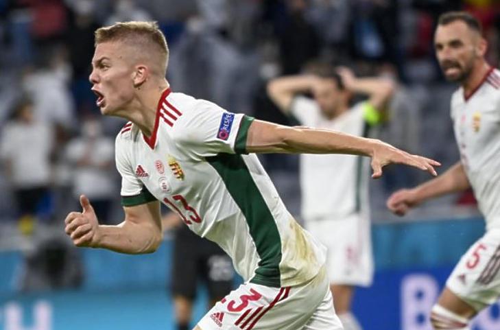 Schäfer András gólöröme a labdarúgó Európa-bajnokság Németország - Magyarország mérkőzésen a müncheni Allianz Arénában (Fotó: MTI/Kovács Tamás)