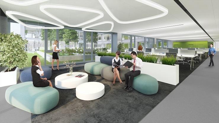 A CPI Hungary új épületszárnya, a Balance Hall belső látványterve