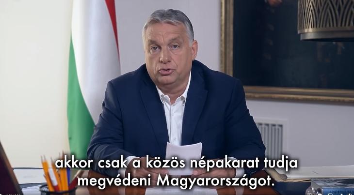 Orbán Viktor miniszterelnök bejelenti a népszavazási kezdeményezést. Forrás: Orbán Viktor Facebook-oldala