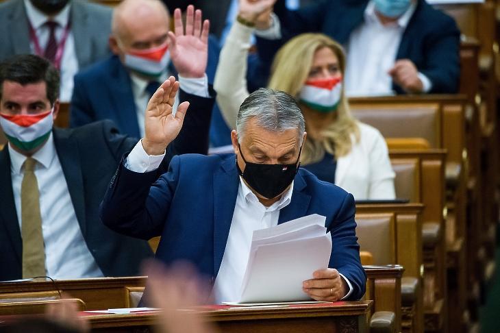 Orbán Viktor miniszterelnök szavaz az Országgyűlés rendkívüli ülésén 2020. november 10-én. MTI/Balogh Zoltán