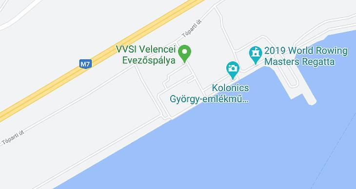 A tó északi szakaszánál lévő evezős pályához közel lesz az új létesítmény (forrás: google.com)