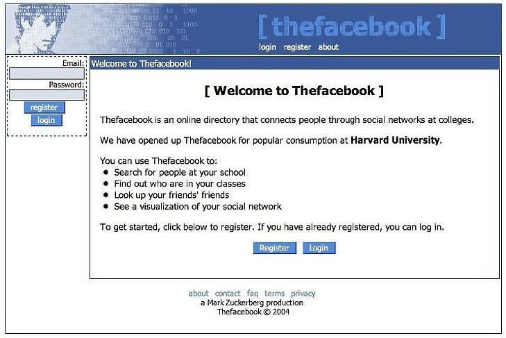 A Facebook legelső kezdőképernyője, 2004-ből. (Forrás: Business Insider)