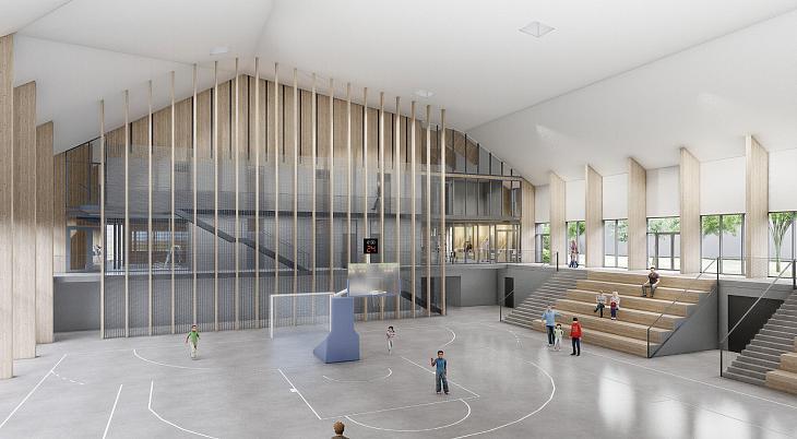 A Ménesbirtok új sportcsarnokának látványterve (forrás: DAW stúdió)