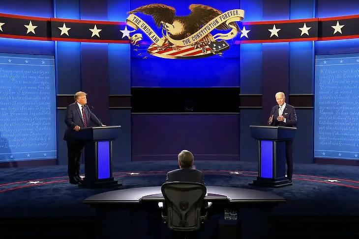 Donald Trump  és Joe Biden televíziós vitája Clevelandban 2020. szeptember 29-én. (YOUTUBE/CNBC - printscreen)