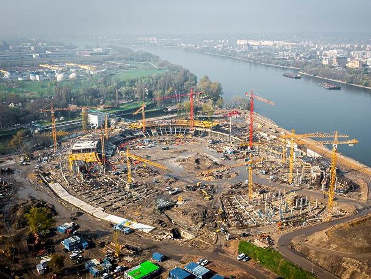 A Nemzeti Atlétikai Stadion építkezése madártávlatból