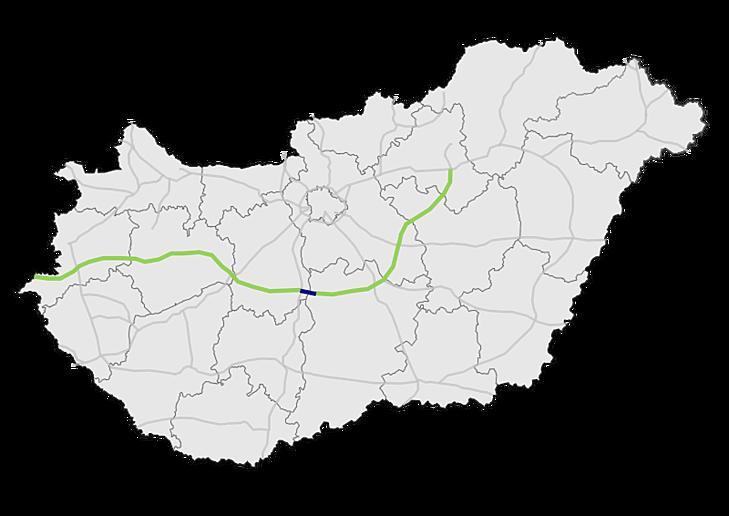 Az M8 autópálya nyomvonala. A kék szín az épülő, a zöld a tervezett szakaszokat jelöli. (Forrás: Wikipédia)