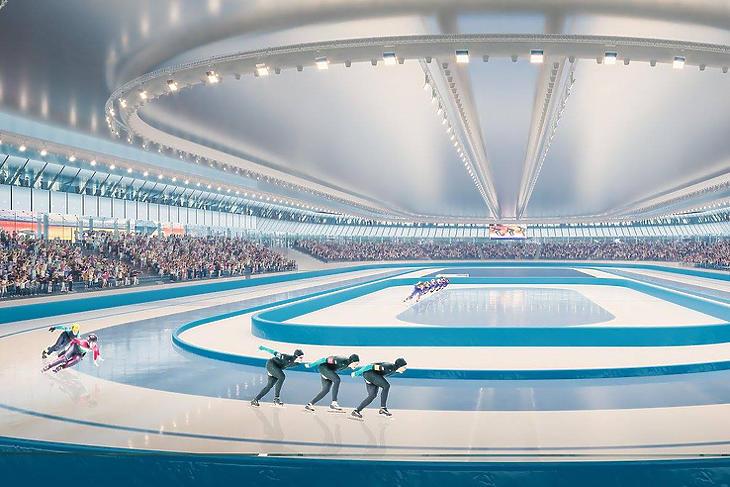 A tervek szerint így néz ki belülről a korcsolyázó központ (Fotó: BORD Építész Stúdió)