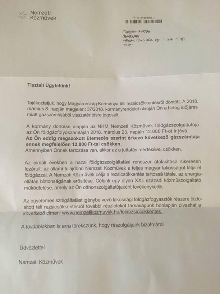A téli rezsicsökkentésről szóló levél