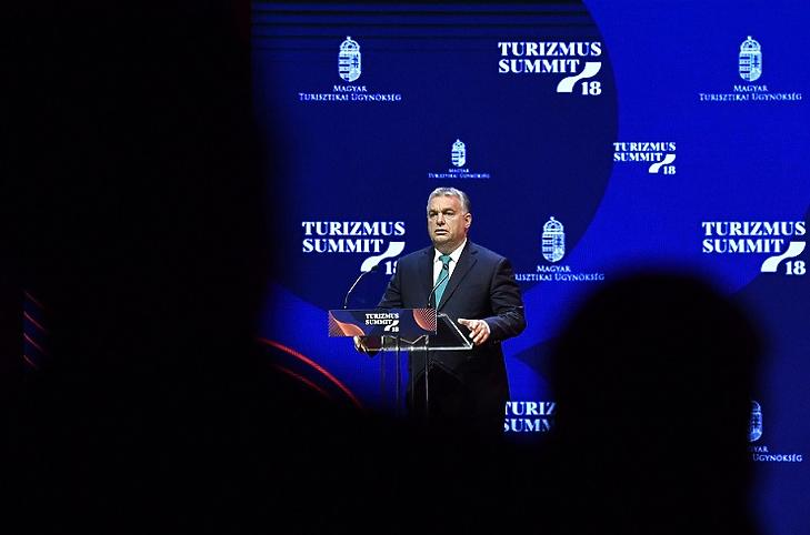 Orbán Viktor beszél a Turizmus Summit 18 rendezvényen (MTI Fotó)