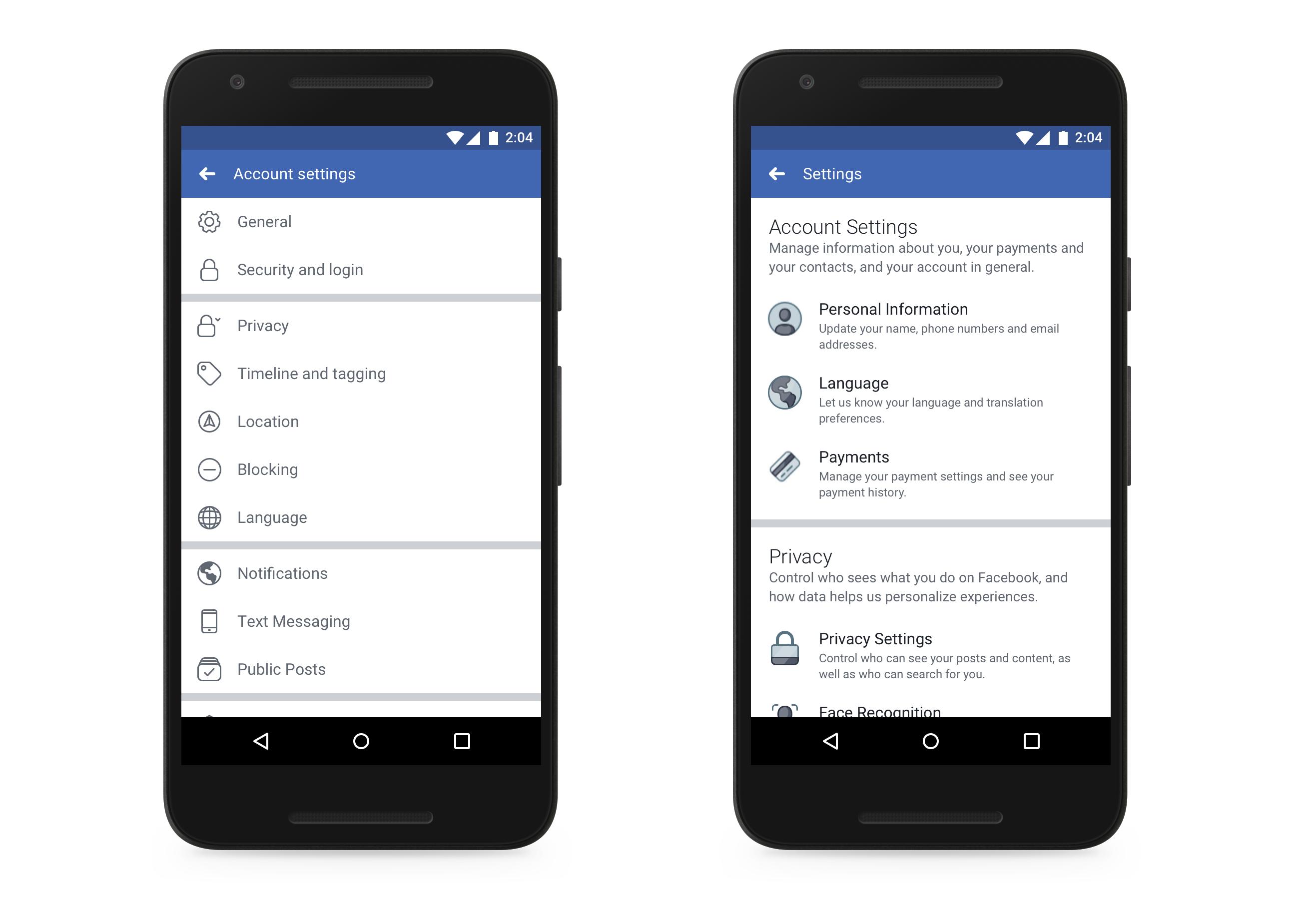A régi és a megújult beállítási felület a Facebook mobilos felületén