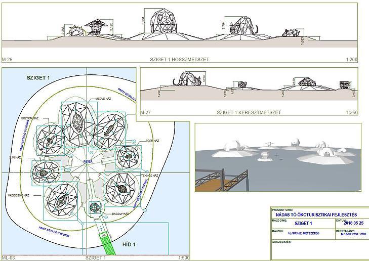 Az első sziget terve az állatfigurás épületekkel (Forrás: műszaki dokumentáció)