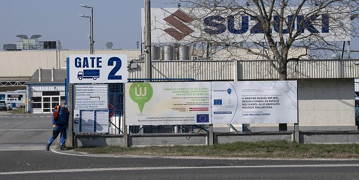 Az esztergomi Suzuki-gyár 2020. március 18-án. A Magyar Suzuki Zrt. vezetése 2020. március 23-tól állította le az esztergomi gyártást, több mint egy hónapra. MTI/Szigetváry Zsolt