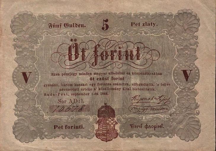 A Kossuth bankó 5 forintos címlete