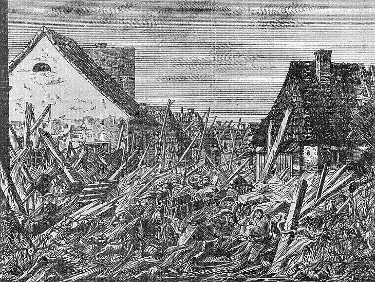 Az árvíz utáni helyzetet örökített meg rajzán Hermann Ottó