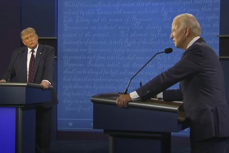 Joe Biden és Donald Trump első televíziós vitája Clevelandban 2020. szeptember 29-én.  Forrás: Youtube