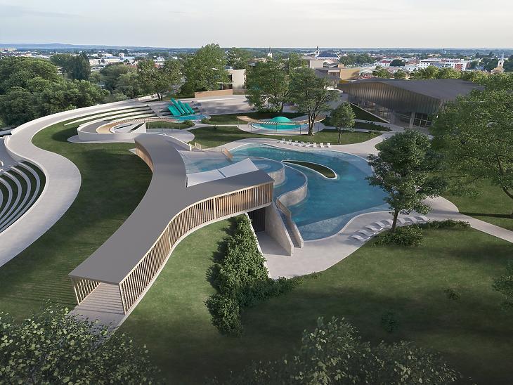 A győri vízi élménypark látványterve. Fotó: A tervező A1 Építésziroda Kft. Facebook-oldala