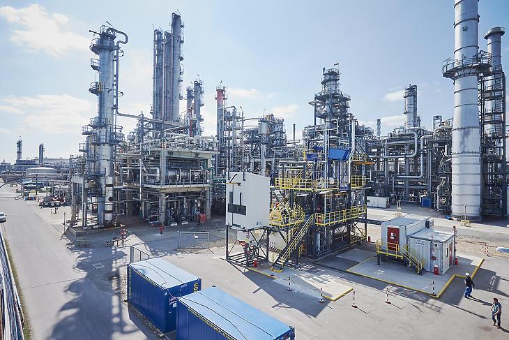 A ReOil kísérleti üzem az OMV schwechati finomítójának területén. (Fotó: OMV)