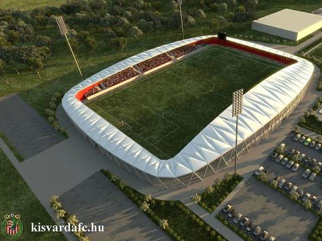 Látványterv az új stadionról, a sportcsarnok a szomszédságába kerül (Fotó: Kisvárda FC)