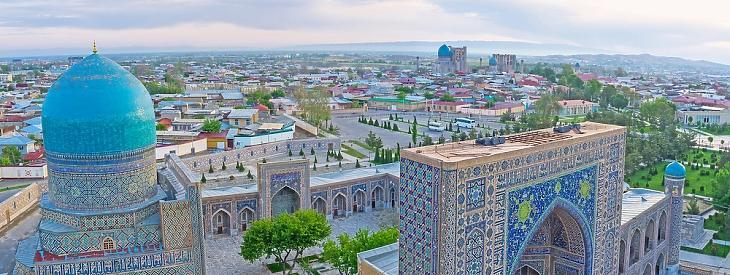 Légifotó az üzbegisztáni Szamarkandról. Forrás: depositphotos